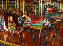 Black Carousel Horse with rabbit Royalty Free Stock Images