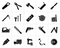 Black Carpentry, logging and woodworking icons. Vector icon set stock illustration