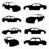 Black cars compilation isolated symbols. Vector eps 10 Royalty Free Stock Photos