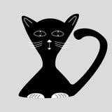 Black cartoon cat Stock Image