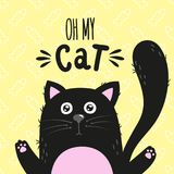 Black cartoon cat and a handwritten inscription Oh my cat. Vector illustration. Royalty Free Stock Photo