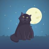 Black cartoon cat isolated illustration. Eps10 Stock Image