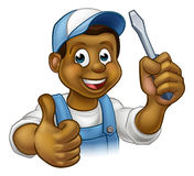 Black Cartoon Electrician Handyman Screwdriver Stock Photos