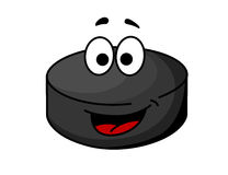 Black cartoon ice hockey puck Stock Image