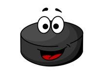 Black cartoon ice hockey puck. Cute black cartoon ice hockey puck with a red tongue and googly eyes, cartoon illustration Stock Image