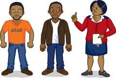 Black cartoon men and nurse. Two young black African men & a clinic nurse: AIDS awareness stock illustration