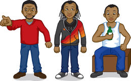 Black cartoon people. Three young black African men: one is angrily pointing, one is trendy and from the city, and the other is a working class man sitting on a vector illustration