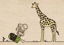 Black Cartoon Photographer with Giraffe stock images