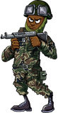 Black cartoon soldier with gun Stock Photos