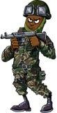 Black cartoon soldier with gun Stock Photos
