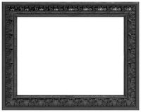Black carved frame for a mirror isolated on white Stock Photos