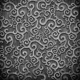 Black carved wooden pattern. Black carved ornament on wooden texture Stock Photo