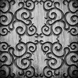 Black carved wooden pattern. Black carved ornament on wooden texture Stock Images