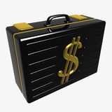 Black case. 3d an illustration of the diplomat with the image of dollar Stock Images