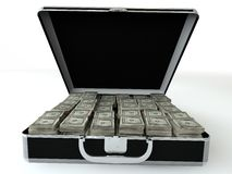 Black case with dollar. Stock Images