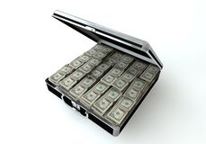 Black case with dollar. 3d render Stock Photo