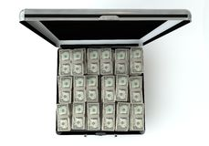 Black case with dollar. 3d render Stock Image