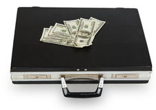 Black case with dollars Stock Photos