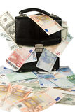 Black case with euros and dollars Royalty Free Stock Photos