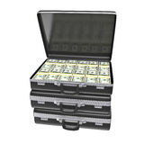 Black case with money. Isolated on white background. 3d rendering Royalty Free Stock Image