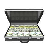 Black case with money. Isolated on white background. 3d rendering Stock Photography