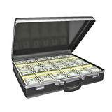 Black case with money. Isolated on white background. 3d rendering Stock Photos