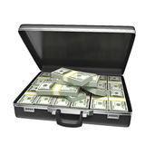 Black case with money Royalty Free Stock Photo