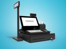 Black cash register with cashback service in 50 percent 3d render on blue background with shadow. Black cash register with cashback service in 50 percent 3d vector illustration