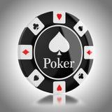 Black casino poker chip. On background vector illustration