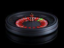 Black Casino roulette wheel isolated on black background. Modern Casino roulette for poker table. Casino game 3D object stock illustration