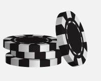 Black casino tokens, isolated on white background Stock Photo