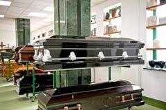 Black casket. The black casket in a casket store Royalty Free Stock Photography