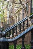 Black cast-iron stairway railing Stock Photo