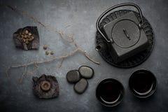Black cast iron tea set. Stock Images