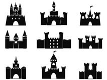 Black castle icons. Isolated black castle icons from white background