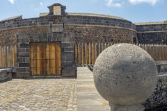Black Castle in Santa Cruz de Tenerife. The gate input Royalty Free Stock Image