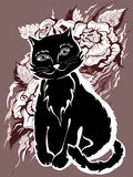 Black cat. Card in the vintage style stock illustration