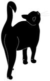 Black cat. The  illustration, black cat stands sideways, having lifted up upwards a muzzle Royalty Free Stock Photos