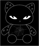 Black cat. Simple illustration of black cat, cartoon and baby style Stock Photography