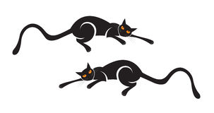 Black Cat. Two black cats vector illutration royalty free illustration