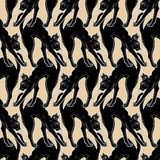 Black cat with arched back seamless pattern. royalty free stock photos