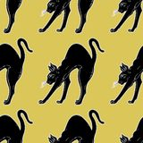 Black cat with arched back seamless pattern. stock photography