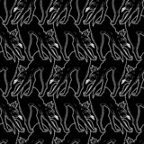 Black cat with arched back seamless pattern. royalty free stock photography