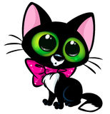 Black cat big eyes cartoon Royalty Free Stock Photo