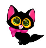 Black cat big eyes cartoon wonder Stock Photos
