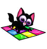 Black cat big eyes playing twister cartoon Stock Image