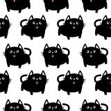 Black cat. Big tail, whisker, tongue, eyes. Cute cartoon character. Baby pet collection. Seamless Pattern Wrapping paper, textile. Template White background Stock Image