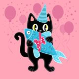 Black cat on birthday party with present royalty free illustration