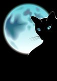 Black cat. And blue moon Royalty Free Stock Images