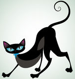 Black cat with blue ribbon front Royalty Free Stock Photography